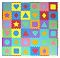 """ProSource Kids Foam Puzzle Floor Play Mat with Shapes & Colors 36 Tiles, 12""""x12"""" and 24 Borders"""