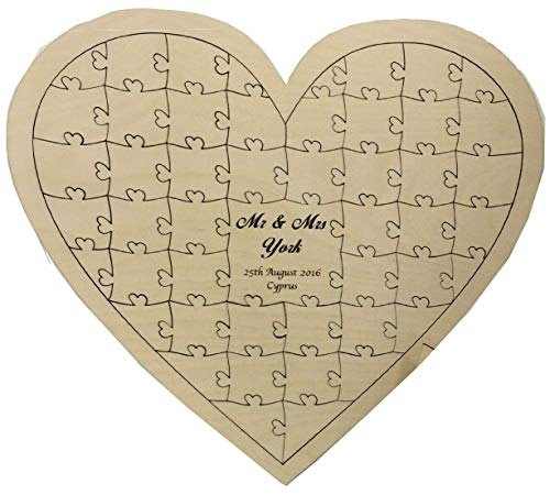 FSSS Ltd Personalised birch plywood 40 piece heart shaped wedding guest book jigsaw puzzle wooden anniversary birthday gift shabby shic