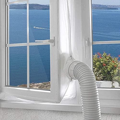Kit de sellado de ventana/puerta de 158 pulgadas para aire acondicionado portátil, 400 cm de sellado de CA móvil, cinta adhesiva con gancho y cremallera, detener el intercambio...