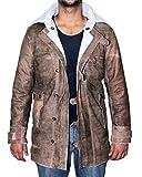 BlingSoul Genuine Swedish Mens Bomber Jacket - Shearling Leather Winter Jacket Coat Men Brown | [1500747] Bain Real, 3XL