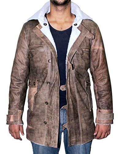 BlingSoul Genuine Swedish Mens Bomber Jacket - Shearling Leather Winter Jacket Coat for Men | [1500745] Bain Real, XL