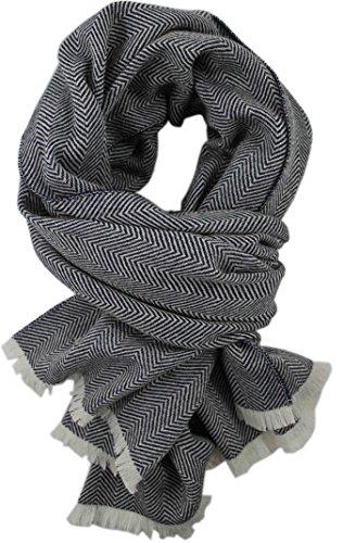 Rotfuchs Echarpe tissée Echarpe en chevrons bleu blanc à la mode 100% laine (Mérinos)