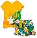 Conjunto Camiseta Y Short Punto Estampado NIÑA Naranja Party Animal