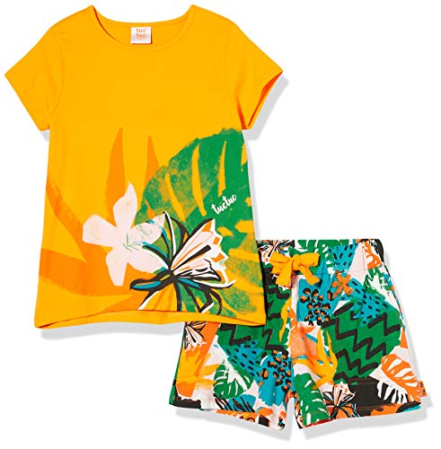 Conjunto Camiseta Y Short Punto Estampado NIÑA Naranja Party Animal