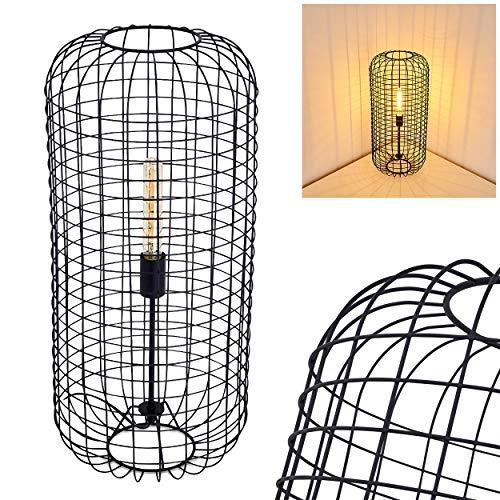 Tischleuchte Flambeau aus Metall in Schwarz, Retro Tischlampe m. Lampenschirm in Käfig-Optik, E27-Fassung max. 60 Watt, Leuchte im Retro-Design m. Gitter und An-/Ausschalter am Kabel, LED geeignet