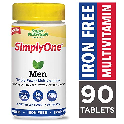 SuperNutrition, SimplyOne Multi-Vitamin for Men, Iron-Free, High-Potency, One/Day Tablets, 90 Day Supply