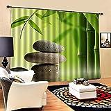 NoneBrand Cortina De Piedra De Bambú para Dormitorio Home Fashion Mix & Match Tulle Sheer Lace & Blackout Curtain Set Tamaño: 85 * 200 Cm (2 Paneles)