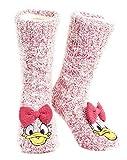 Disney Calcetines Antideslizantes Invierno Mujer Con Personajes Stitch Mickey Minnie, Zapatillas de Punto Forro Polar Para Estar Por Casa, Regalos Para Mujeres Chicas (Pata Daisy)