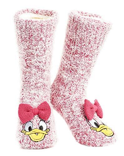 Disney Chaussettes Épaisses Femmes Super Douce Doublée Fourrure Sherpa Chaussettes Antidérapantes Mickey Minnie Stitch Chaussette de Lit Fantaisie Cadeau Femme Fille (Daisy),Rose,Taille unique