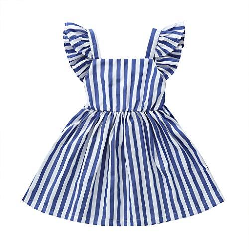 Vestido de bebé para niña con lazo, vestido de verano con cuello cuadrado a rayas y manga de mosca princesa de una pieza