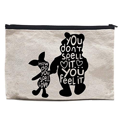 Chillake Inspirational Winnie The Pooh Quote Natural Cotton Canvas Zipper Pouch | Cute Pencil Case/Pencil Pouch/Makeup Pouch Gifts for Kids Book Lovers Bookworm Readers Students
