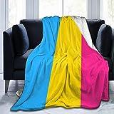 Yangzhi Pansexual Pan Pride Flag LGBT Gay Full Fleece Throw Cloak Wearable Blanket Flannel Fluffy Comforter Quilt Nursery Bedroom Bedding Decor Queen King Size Plush Soft Cozy