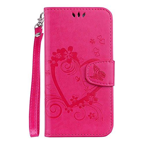 Capa carteira de couro PU coração amor XYX para Huawei P30 Lite, rosa, Huawei P30 Lite