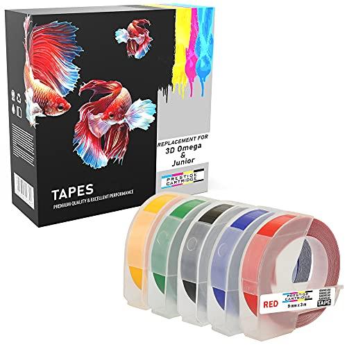 Pack de 5 bianco sobre negro rojo azul verde amarillo 9mm x 3m Cintas de estampación autoadhesivas compatibles para impresoras de etiquetas Dymo 3D Omega y Junior