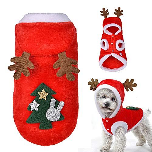 KENANLAN - Disfraz de Alce para Perro, Ropa de Navidad, Sudadera con Capucha de Terciopelo, para Gatos, Perros, Cachorros, Navidad, Disfraz cálido, Traje de Fiesta, XL