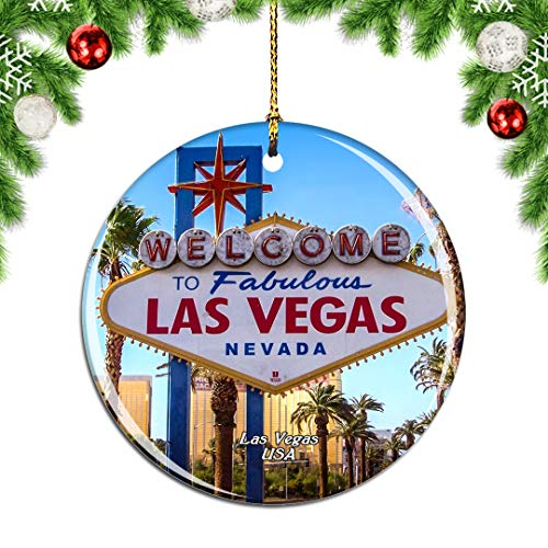 Weekino America USA Sign Las Vegas Christmas Xmas Tree Ornament Decoration Hanging Pendant Decor City Travel Souvenir Collection Double Sided Porcelain 2.85 Inch
