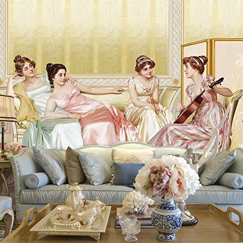 Europäische palast ölgemälde luxus kunst tapete klavier musik wohnzimmer hintergrundbild studio dekorative wandbild Tapete 3d wandbild tapeten vintage Moderne Hintergrundbild-300cm×210cm