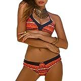 DELEY Mujere Retro Floral Impresión Halterneck Brasileño Triángulo Bikini Trajes De Baño Naranja Tamaño M