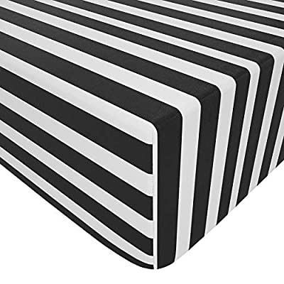 NTBAY Microfiber Fitted Crib Sheet, Cozy and Soft Black and White Toddler Sheet, 28 x 52 Inches, Stripe