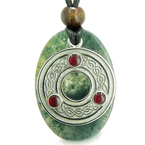 BestAmulets Amulet Celtic Triquetra Protection Knot Moss Agate Good Luck Pendant Necklace