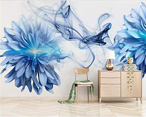 Moderne Tapetenauszugs-Rauchblau-Blumen Des Innenraums 3D Wohnzimmer-/Schlafzimmer-/Fernsehhintergrundtapeten Für Wohnzimmer,400 * 280Cm