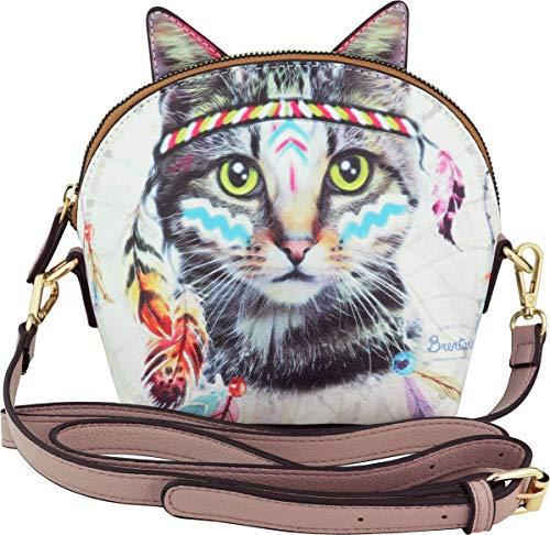 B BRENTANO Vegan Cute Bohemian Cat Animal 3-D Ear Crossbody Handbag (Boho Feline)