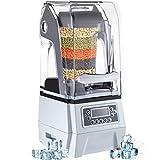 VEVOR 110V Commercial Smoothie Blenders, 1.5L/50.7oz 1500W Countertop Silent Blender w/ 3-Side...