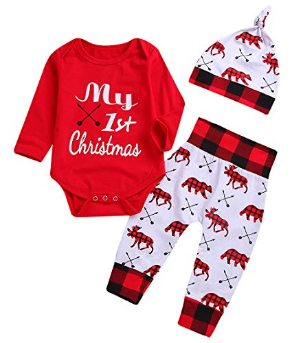 Baby Boys Girls My 1st Christmas Outfits Romper+Plaid Pants+Hat 3Pcs Clothes Set Red