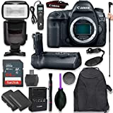 Canon EOS 5D Mark IV Digital SLR Camera Body with Pro Camera Battery Grip, Professional TTL Flash, Deluxe Backpack, Universal Timer Remote Control, Spare LP-E6 Battery (16 Items)