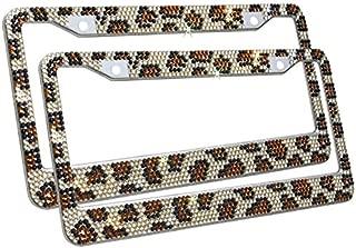 TASIRO Pure Handmade Bling Bling Rhinestones Stainless Steel Car License Plate Frame Bonus Matching Screws Caps (2 Pack Leopard Print)