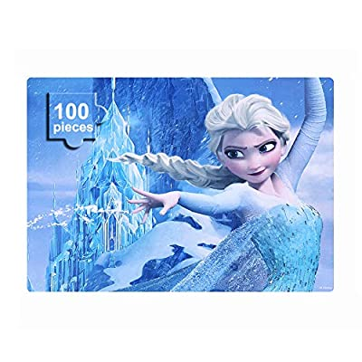 Disney Frozen Puzzles in a Metal Box 100 Piece Jigsaw Puzzle for Kids Ages 4-8 Puzzles for Girls and Boys Great Gifts for Children (Elsa).