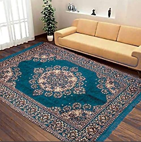 Kk Home Store Decor Velvet Royal Carpet 60 inch x 84 inch 150 cm x 210 cm 5 Feet x 7 Feet Sky Blue for Living Room Hall Made in India