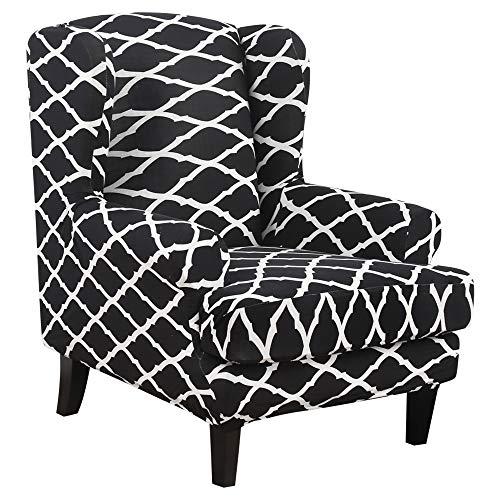 ChicSoleil Ohrensessel Schonbezug, Elastische Sesselbezug Sesselüberwurf Sofaüberwurf Stretch Schutzhülle mit Modern Muster Sessel Husse für Ohrensessel