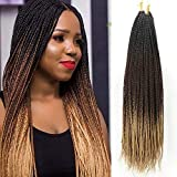 Senegalese Twist Box Braids Crochet Hair 24 inch 7 Packs/Lot Big Head Friendly Handmade 3 Tone Ombre Color Braiding Crochet hair Extensions for Black Women(3S,Black/Dark Brown/Blonde)