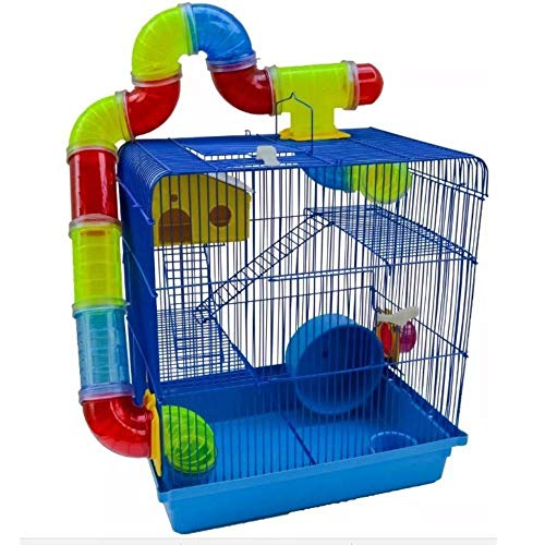 Gaiola Hamster Tubos 3 Andares Azul 26x38x43 Power Pets