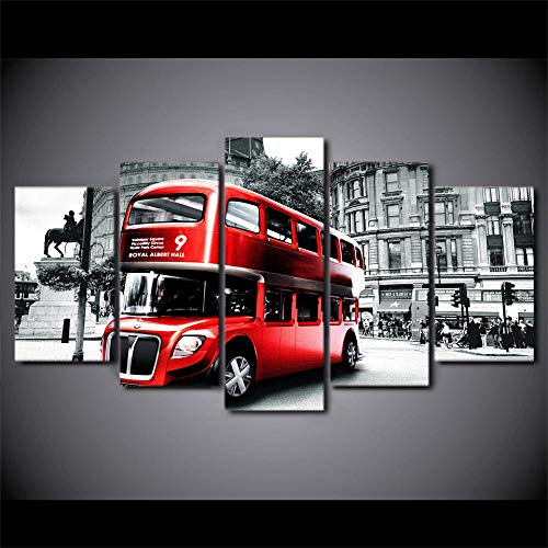 yuanjun Pegatinas De Pared 5 Unidades Lienzo Pintura Lienzo Cuadro Pintura Habitación Decoración Impresión Cartel Arte De La Pared Imágenes De La Pared del Autobús De Londres Rojo Negro