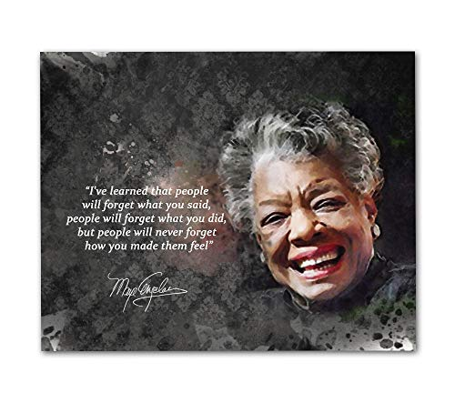 Maya Angelou Quotes Wall Art, 8'x10' Unframed Art Print - Iconic Black Women History Inspirational Wall Art Décor. Great African American Classroom Art for Teachers, Librarians and Historians