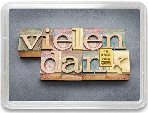 """Goldbarren 1g – Geschenk Motivbox """"Vielen Dank - Thank you"""" – Valcambi ESG - Feingold 999,9 (1g Gold)"""
