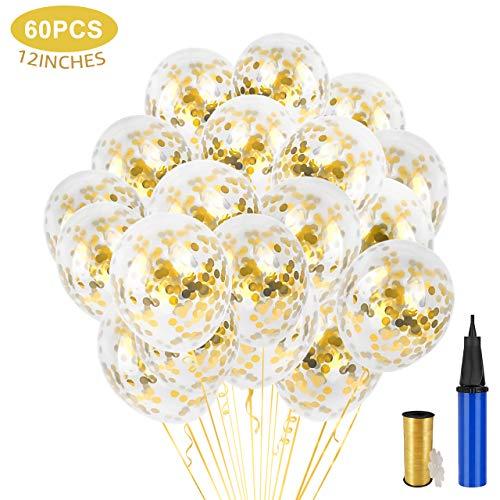 Gafild Luftballons Gold Luftballon Set,32 Stück Gold Konfetti Ballons Latex Glitter Partyballon für Hochzeit und Geburtstag Party Dekorationen,Graduierung,Valentinstag