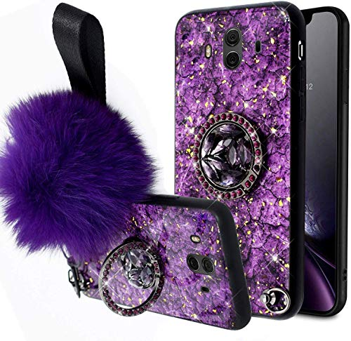 Uposao Compatible with Huawei Mate 10 Case Girls Women Marble Sparkle Bling Glitter Shockproof Rubber TPU Soft Silicone Protective Cover with Furry Ball Ring Holder Kickstand,Purple