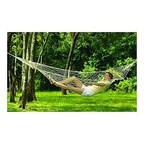 WXQHYD White Outdoor Hammock Portable Mesh Net Hanging Bed Solid Wood Swing Sleeping Camping Travel Hammocks