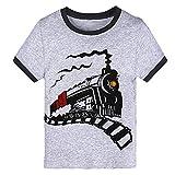 Little Boys Toddler Steam Train Gray T-Shirt Short Sleeve Tee T Shirt Size 4-5