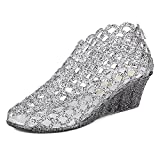 xsby Mesh High Heel Jelly Shoes, Women's Jelly Wedge Beach Sandals High Heels Glass Slipper Shoe 37(Black-A)