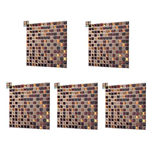 Nicetruc Azulejos de Mosaico Pegatinas Pared 3D palillo de Auto Adhesivo Cuadrado de Diseño del Papel Pintado de Brown extraíble para la Cocina 5pcs Backsplash
