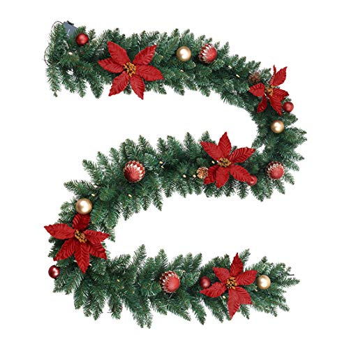 ANOTHERME Christmas Garland 9 ft Pre-Lit Lighted 50 LED...