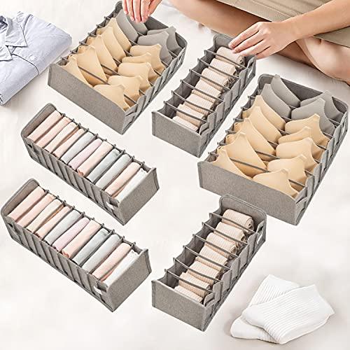 Faffooz Paquete de 6 Organizador de calcetines para ropa interior, organizador de cajones plegable separadores de almacenamiento con tela lavable, para Bra Ropa Interior Calcetines
