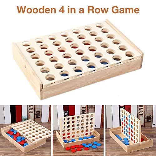 Chen0-super Juego de Mesa de Madera 4 en una Fila, Juego de ajedrez, Juguetes educativos para Padres e Hijos, Juego Familiar de Madera Gigante en una Fila, Interior/Exterior