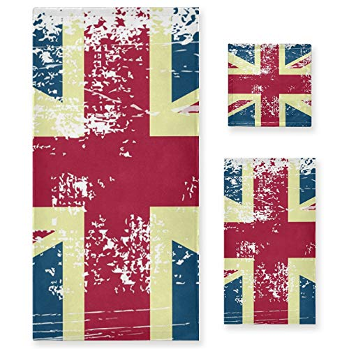 Juego de Toallas de baño de Lujo de algodón de 3 Piezas para Mujeres, Hombres, baño, Cocina, 1 Toalla de baño, 1 Toallas de Mano, 1 toallitas-Art UK Flag Vintage