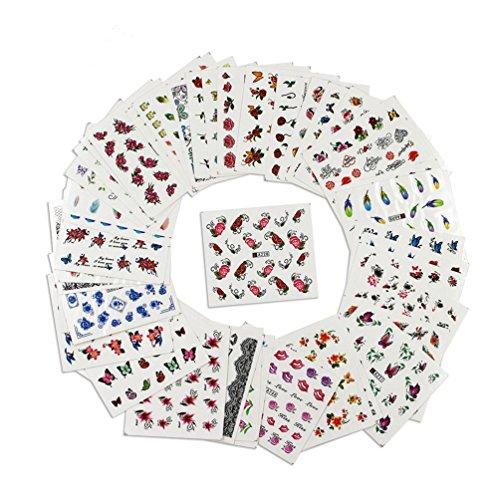 Snaro 50 hojas Nail Sticker Clavar Tip Pegatinas DIY Multi Patrón Uñas Pegatinas de Uñas Herramientas Artísticas,49.5*64MM