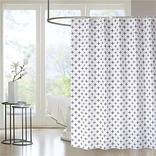 LGANY douchegordijn - polyesterweefsel kruispatroon waterdicht, vormvast wit gordijn 180 cm x 180 cm, zwaar badgordijn